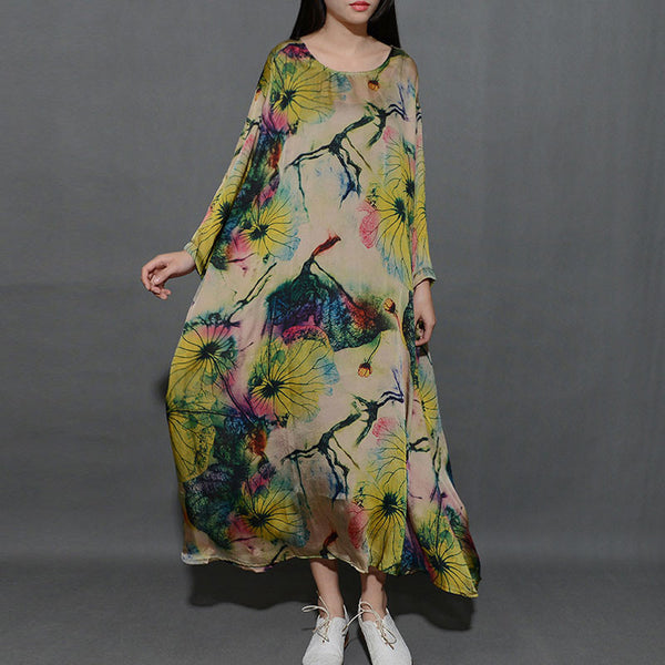 Spring Round Neck Printing Loose Green Dress