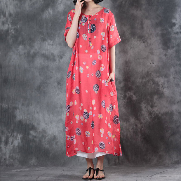 Printed Loose Summer Round Neck Short Sleeve Red Dress - Buykud