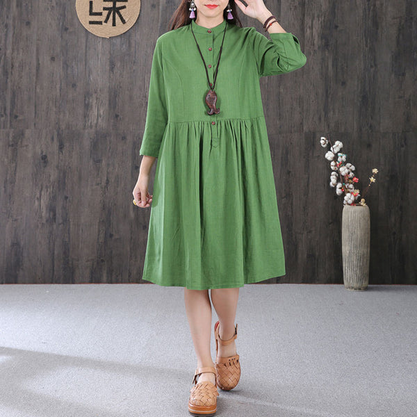 Women Cotton Linen Stand Collar Pleated Three Quarter Sleeves Green Dress - Buykud