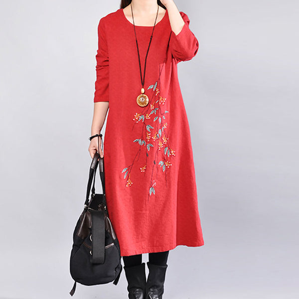 Casual Round Neck Long Sleeve Embroidery Red Dress - Buykud