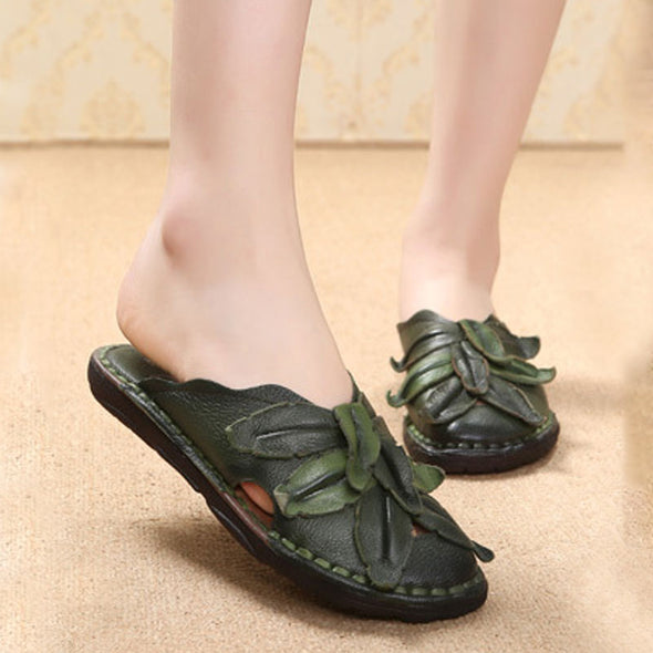 Casual Slippers Women Ethnic Handmade Flower Green Shoes