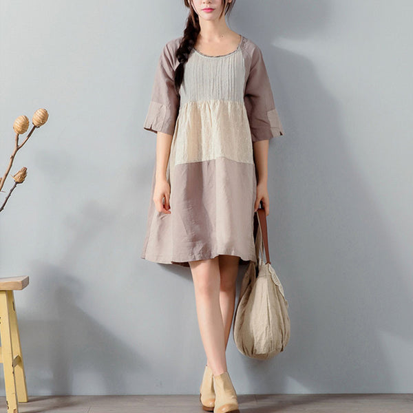 Graceful Floral Lacing Multi Color Elbow Sleeves Gray Dress - Buykud