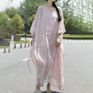 Pink Baggy Summer Cotton Dresses For Women