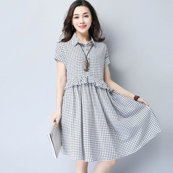 Summer Casual Lattice Pocket Flounces Cotton Linen Gray Dress - Buykud