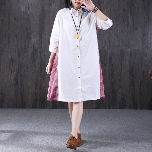 Women Splicing Printing Loose Pink Shirt