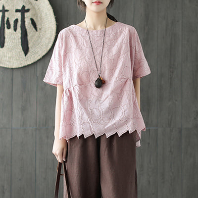 Hollow Pleated Summer Short Sleeve Pink Casual Top
