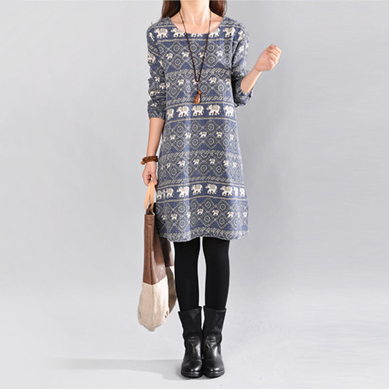 Women Casual Loose Floral Autumn Dress