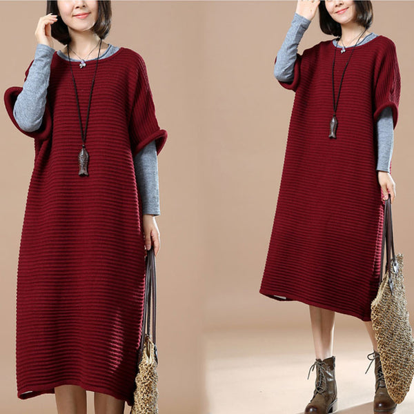 Round Neck Striped Red Wine Sweater
