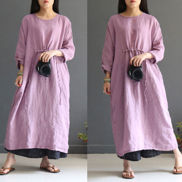 Women Linen Literature Retro Three Quarter Sleeve Light Purple Dress