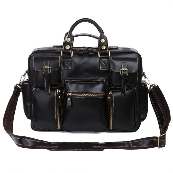 Casual  Pull-up Leather Men Black Hand Bag