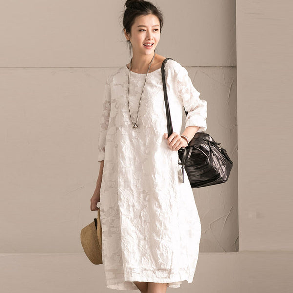 Round Neck Lace Floral White Dress
