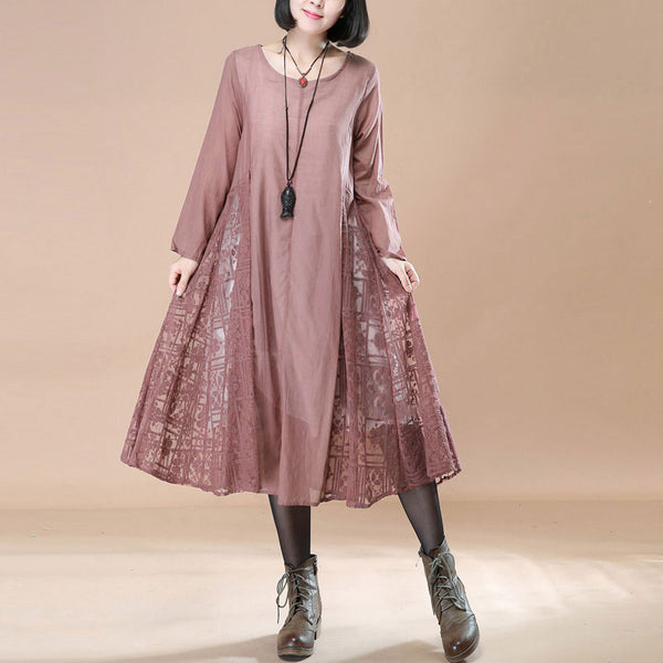 Elegant Literature Lace Casual Loose Long Sleeves Pink A-line Dress