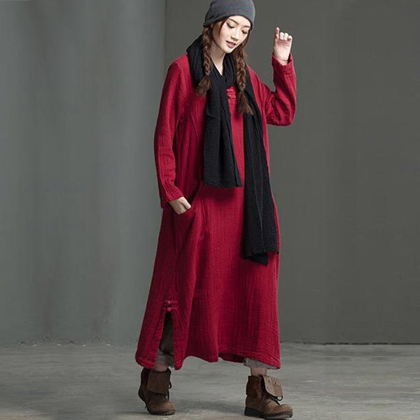 Retro Double Pocket Red Loose Dress - Buykud