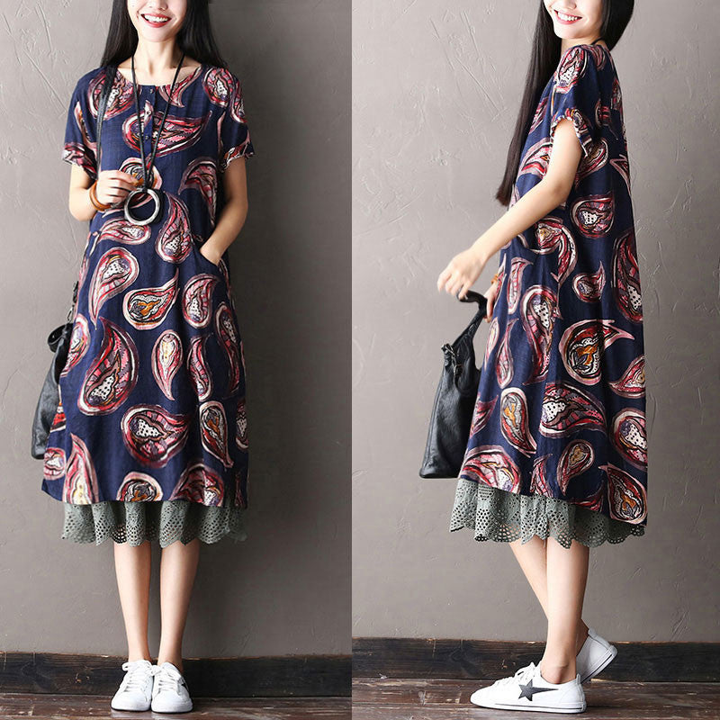 Women Loose Ethnic Button Splicing Pocket Cotton Blue Dress