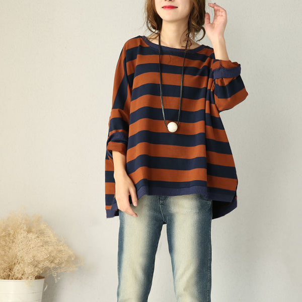 Brown Bat Sleeve Striped Cotton Shirt