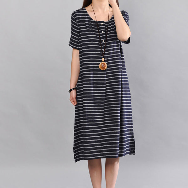 Loose Women Summer Casual Cotton Stripe Short Sleeves Black Dress