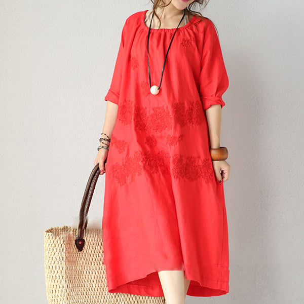 Women's Round Neck Long Sleeved Embroidered Linen Red Dress