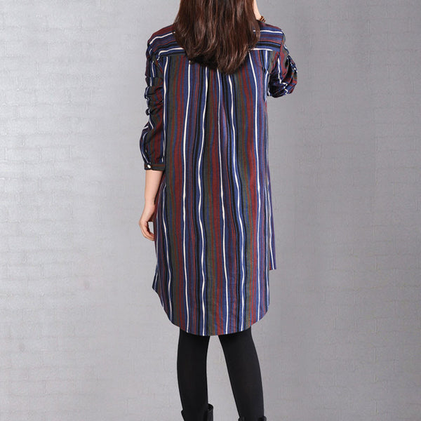 Women Stripe Long Sleeves Blue Long Shirt - Buykud
