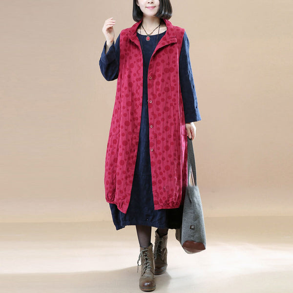 Vintage Women Linen Cotton Jacquard  Red Waistcoat - Buykud