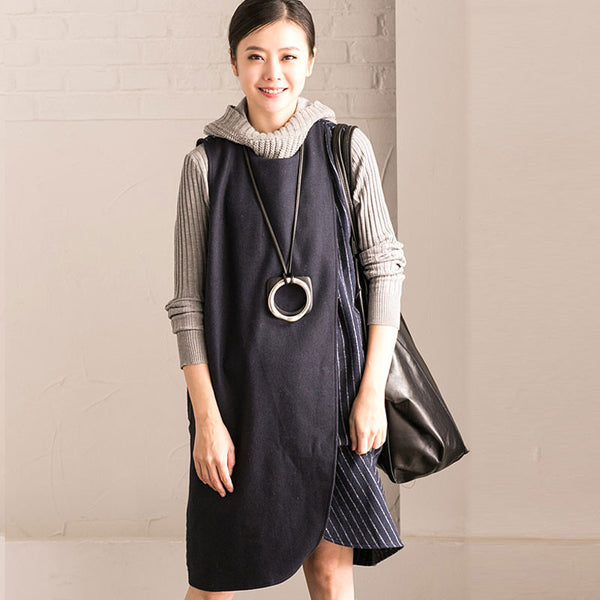 Loose Casual Splicing Stripe Round Neck Blue Vest - Buykud