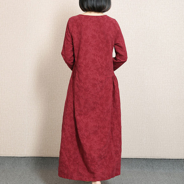 Embroidered Fold Cotton Linen Wine Red Dress - Buykud