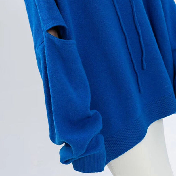Drawstring Hole Batwing Sleeve Solid Hooded Sweater