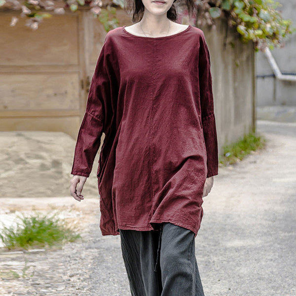 Cotton Women Loose Casual Wine Red Shirt