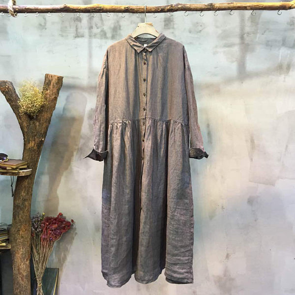 Loose Casual Cotton Light Gray Dress