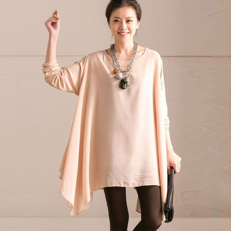 Women Irregular Splicing Lacing Beige Shirt