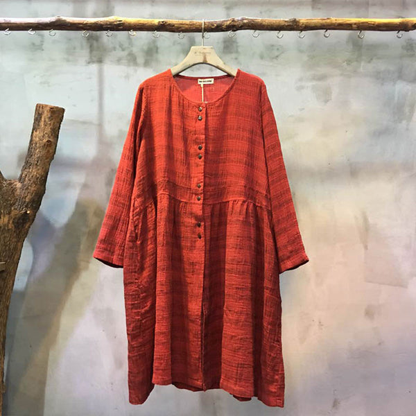 Retro Single Breasted Loose Red Long Shirt