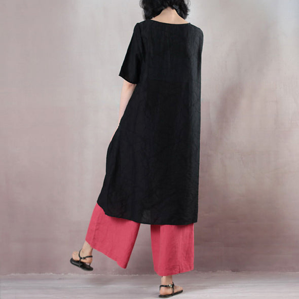 Summer Round Neck Patch Work Stripe Black Dress