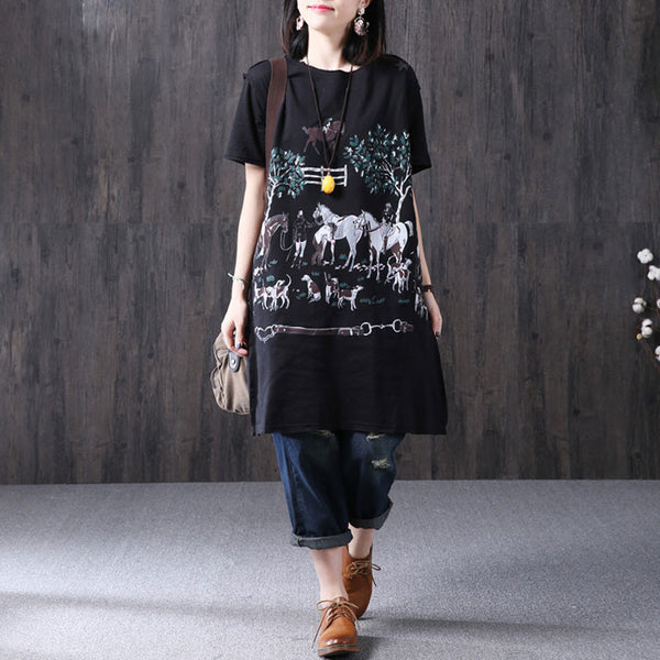 Loose Printing Women Casual Pocket Summer Black Dress