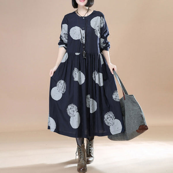 Stylish Printing Splicing Pleated Long Sleeves Women Black Dress