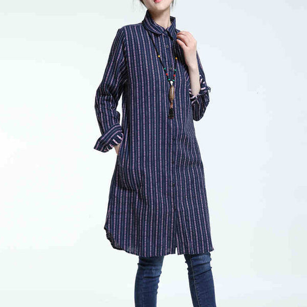 Spring Retro Stripe Line And Cotton Blue Long Shirt
