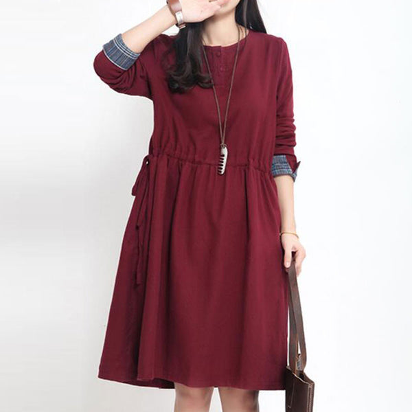 Women Loose Lacing Cotton Wine Red Dress
