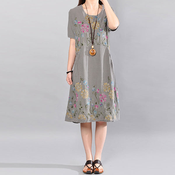 Summer Printing Floral Loose Cotton Short Sleeves Gray Dress