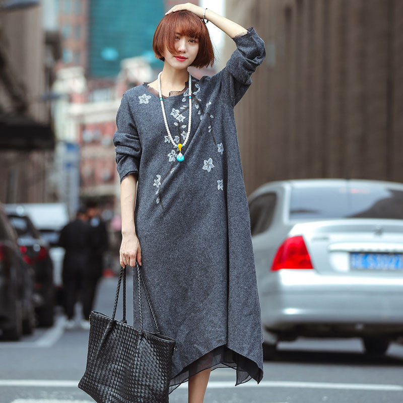 Loose Wool Knit Stitching Dress
