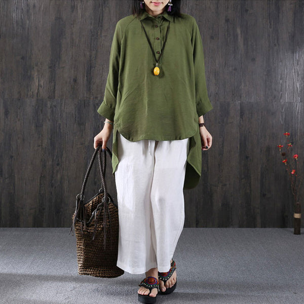 Casual Retro Linen Women Army Green Shirt