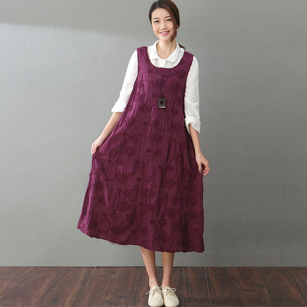Linen Embroidered Loose Dark Red Vest Dress