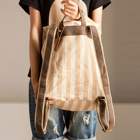 Women Stripe Splicing Beige Backpack - Buykud