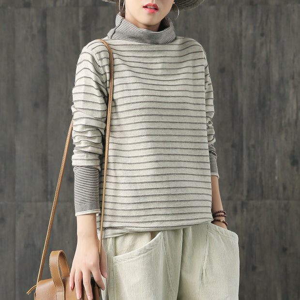 Buykud Loose Comfortable Striped Blouse For Women