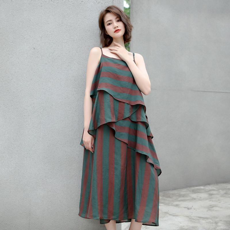 Cotton Vintage Striped Loose Slip Dress