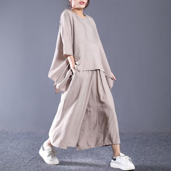 Cotton Casual Irregular Loose Blouse And Pants