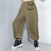 Buykud Pure Color Side Line Casual Harem Pants