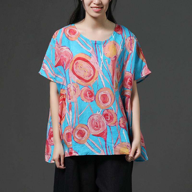 Blue Casual Short Sleeve Printing Summer Shirt