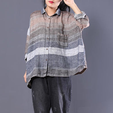 Women S Fall Long Sleeve Polo Neck Striped Batwing Sleeve Shirt