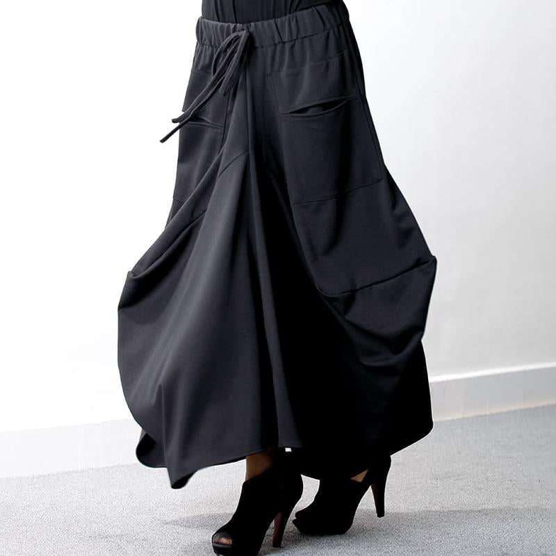 Elastic Waist Black Plus Size Fashion Skirt