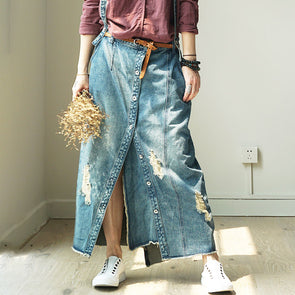 A-line Button Denim Ankle Strap Skirt
