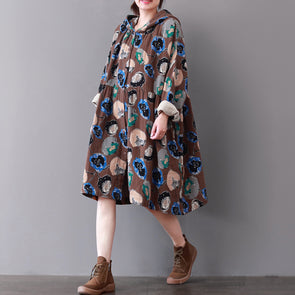 A-line Print Vintage Knee-length Hooded Dress
