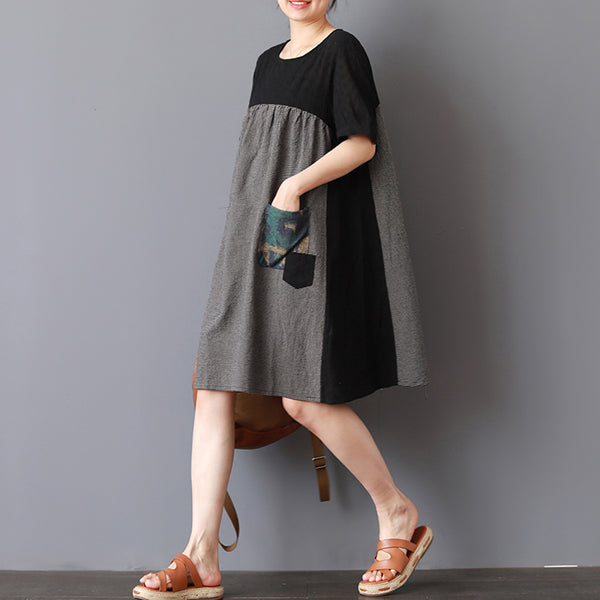 A-line Short sleeve Cotton Loose Plaid Dress